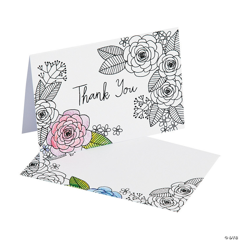 American Crafts8482 Adult Coloring Floral Thank You Cards