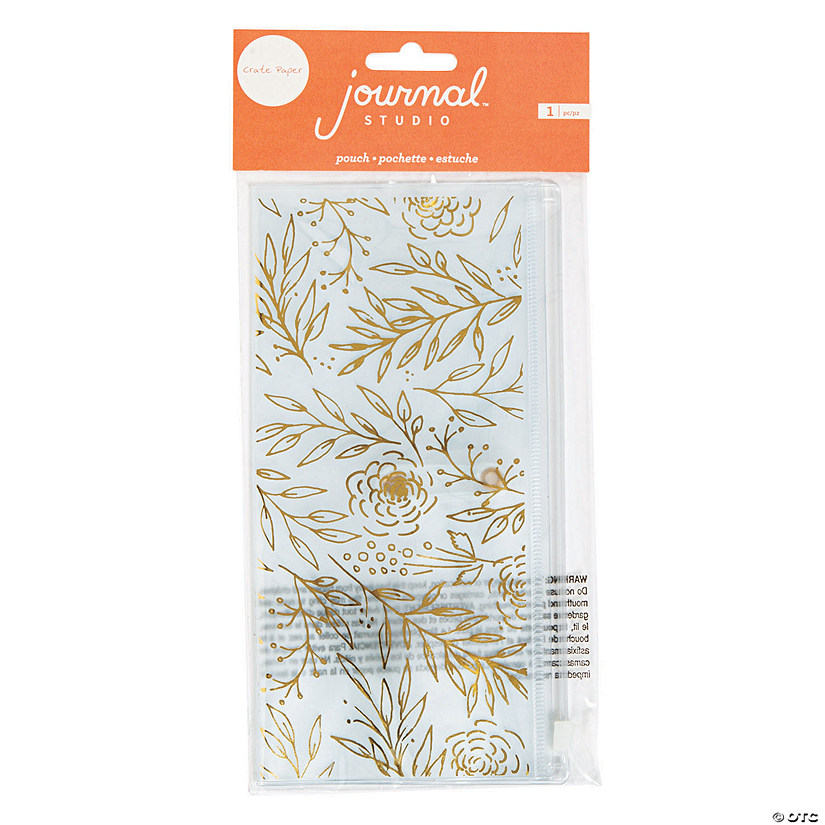American Crafts™ Gold Floral Journal Pencil Pouch Audio Thumbnail