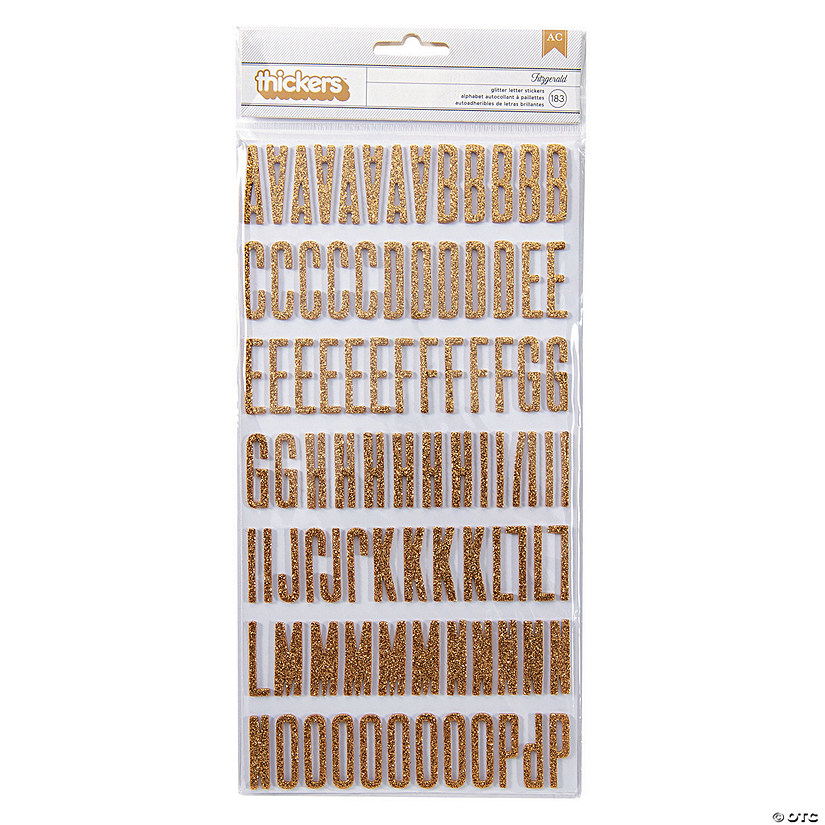 American Crafts™ Thickers™ 3D Fitzgerald Gold Glitter Alphabet Stickers Audio Thumbnail