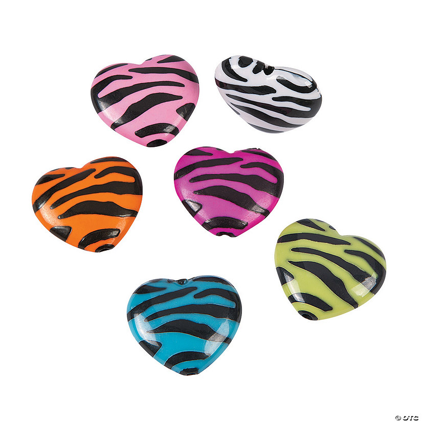 Animal Print Puff Heart Beads - 29mm