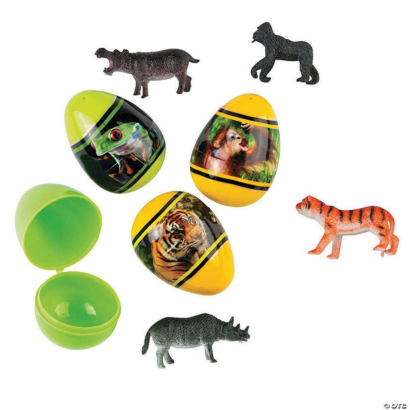 Animal Toy-Filled Plastic Easter Eggs - 12 Pc. Image Thumbnail