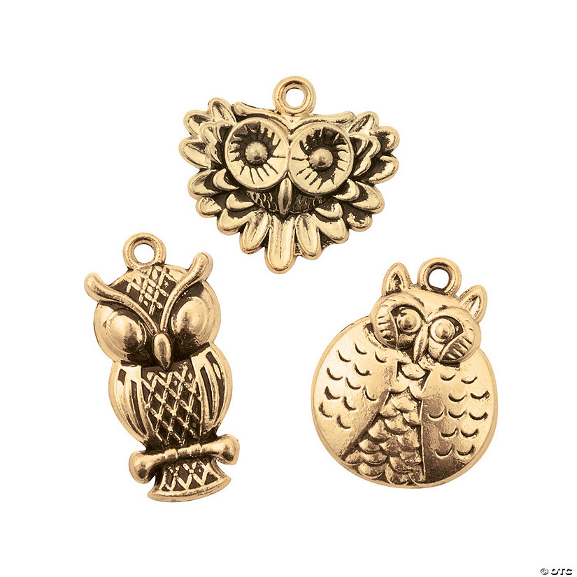Antique Gold Owl Charms