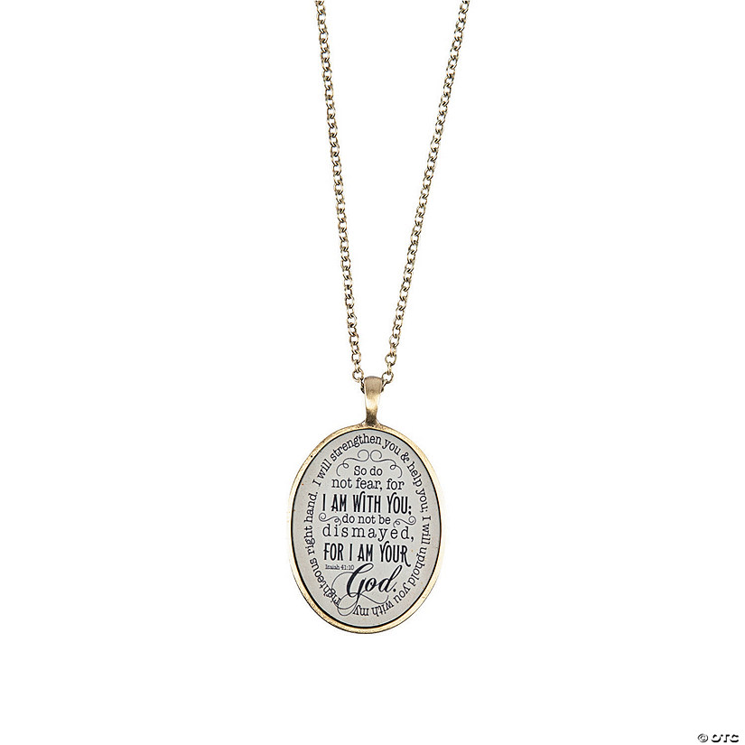 Antique Goldtone Isaiah 41:10 Pendant Necklace Audio Thumbnail