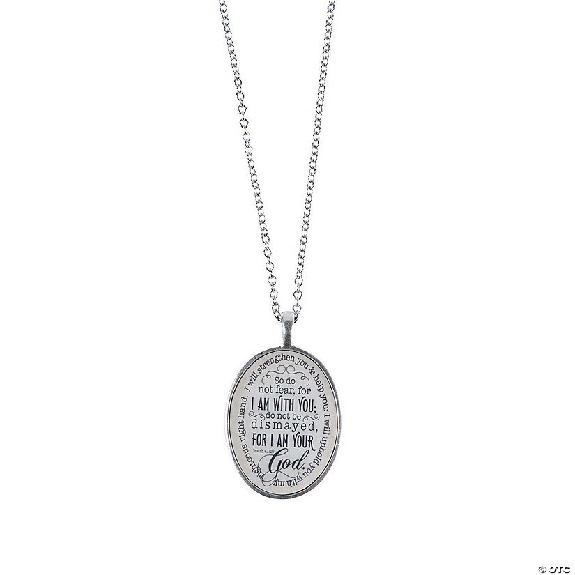 Antique Silvertone Isaiah 41:10 Pendant Necklace Audio Thumbnail