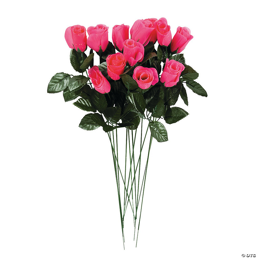 Artificial Hot Pink Rosebuds Image Thumbnail