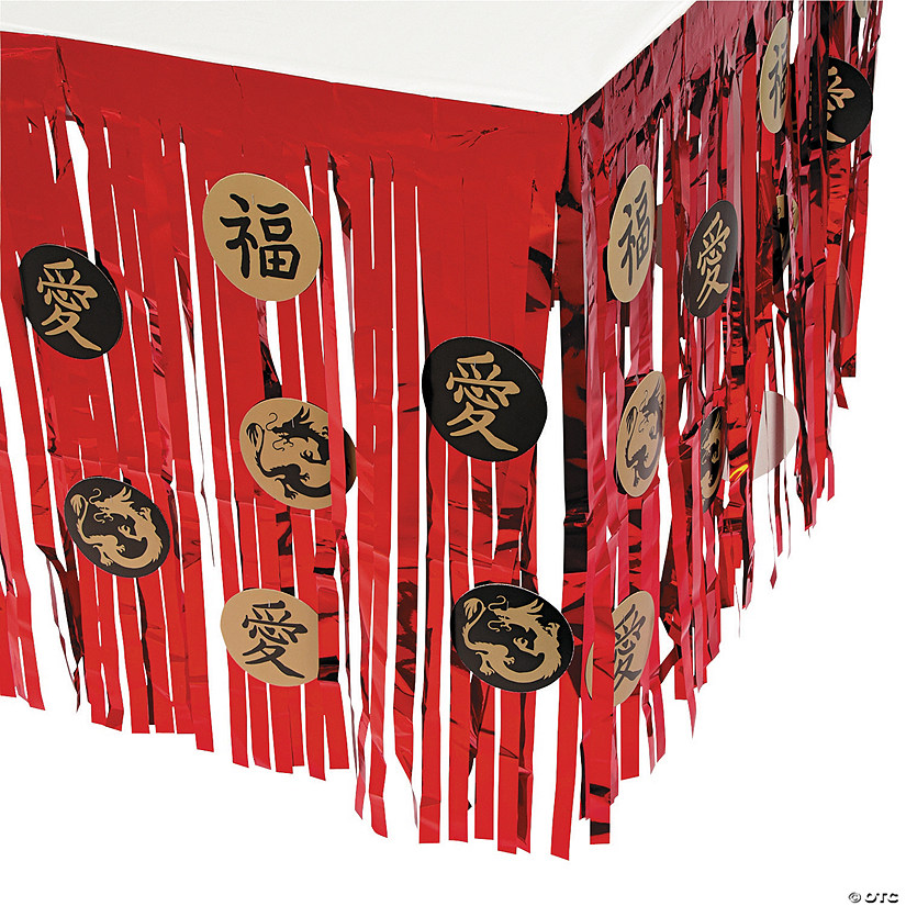 Asian Foil Fringe Table Skirt with Cutouts Audio Thumbnail