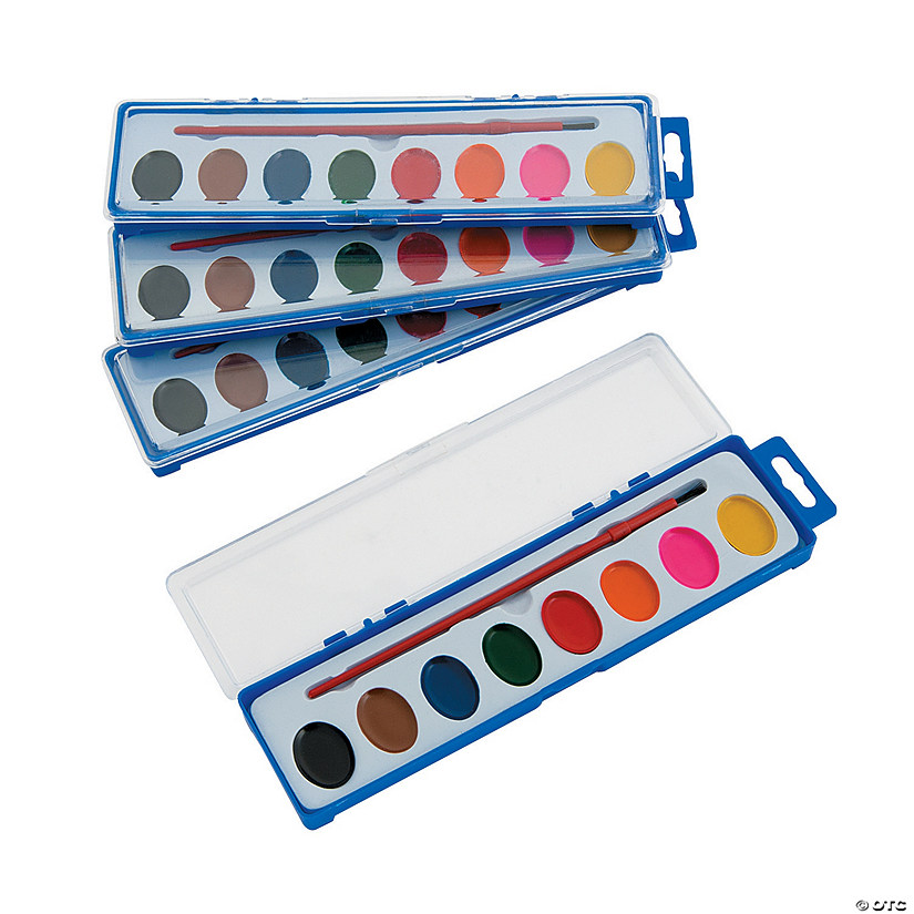 Assorted Colors Watercolor Paint Tray Classpack - Set of 8