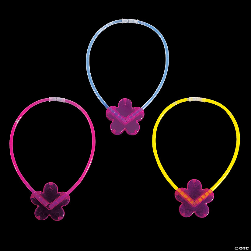 Assorted Flower Glow Necklaces