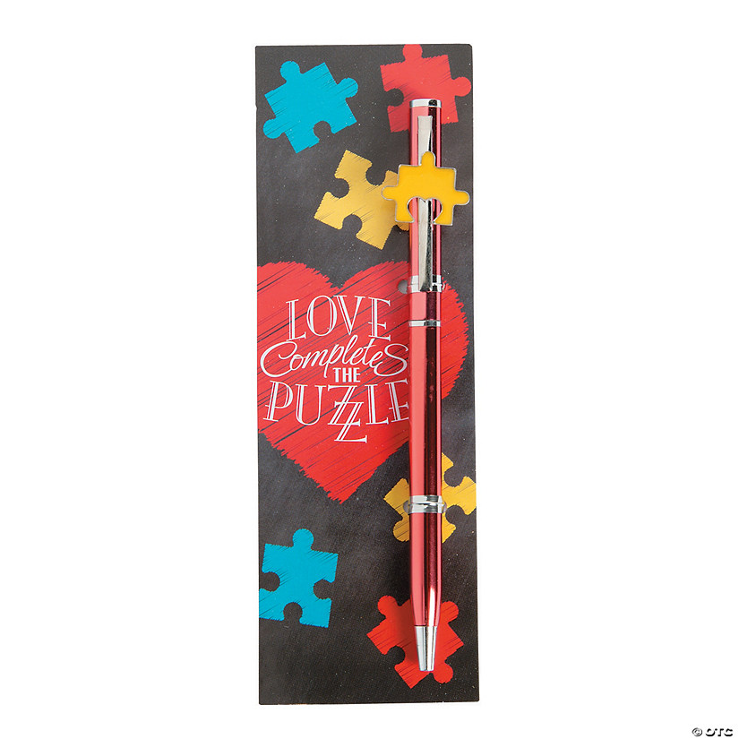 Autism Awareness Love Puzzle Pens with Bookmark Image Thumbnail