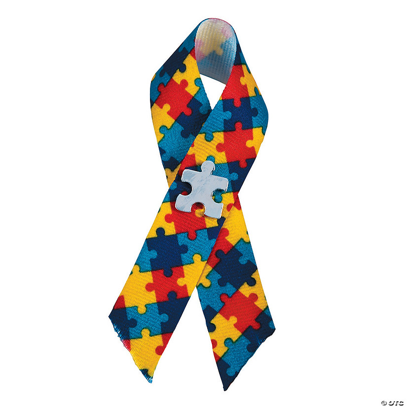 Autism Awareness Puzzle Ribbons with Pin Image Thumbnail