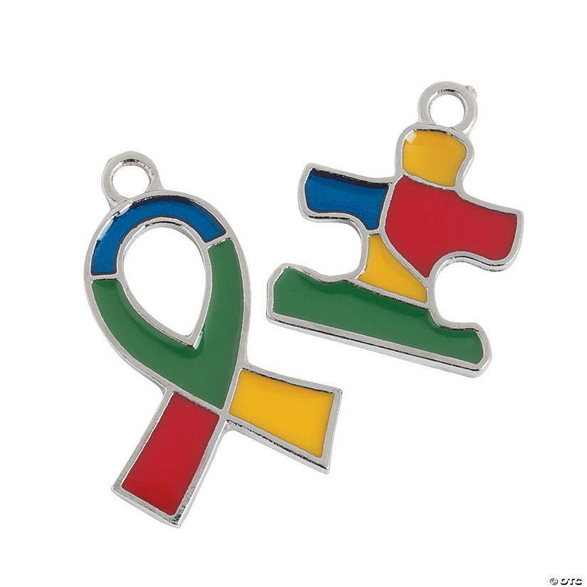 Autism Awareness Ribbon & Puzzle Piece Charms