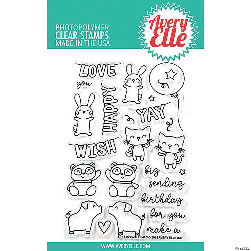"Avery Elle Clear Stamp Set 4""X6""-Party Pals"