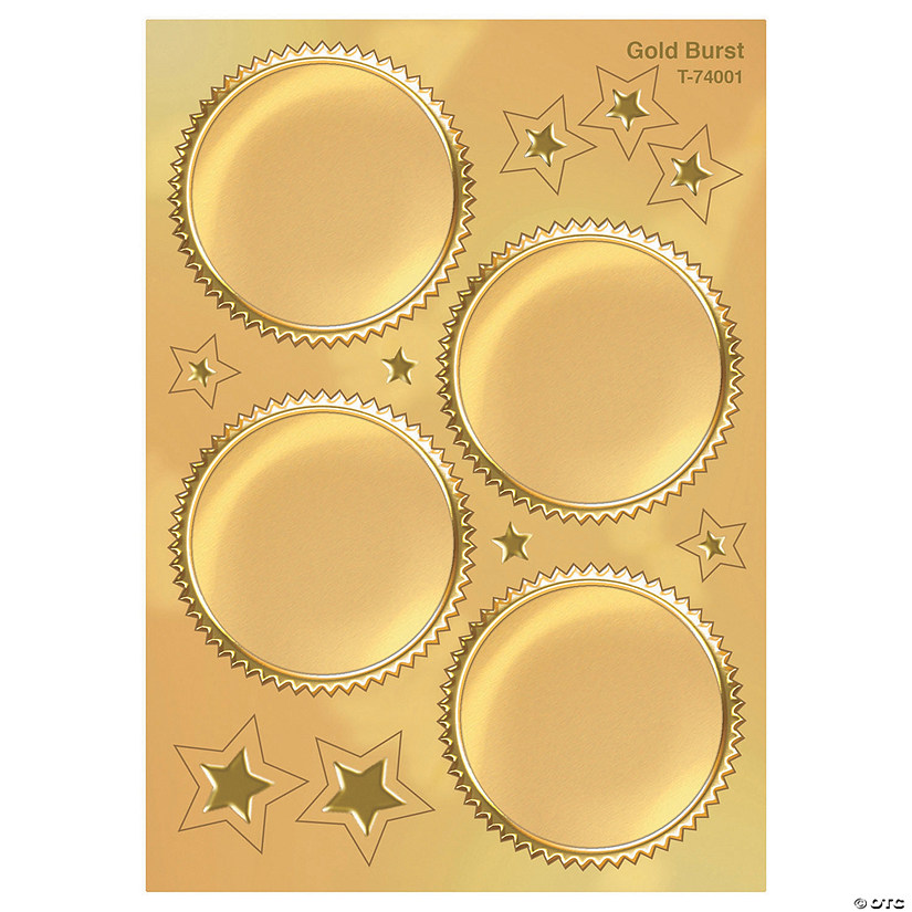 Award Seal, Gold Burst - 32 stickers per pack, 6 packs