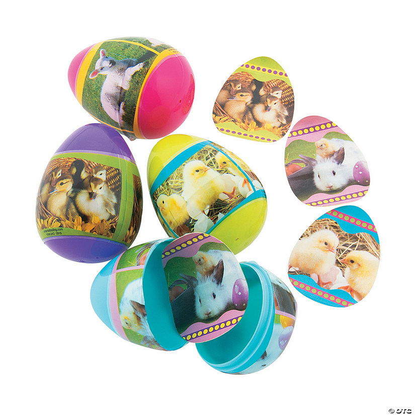 Baby Animal Sticker-Filled Plastic Easter Eggs - 24 Pc. Audio Thumbnail