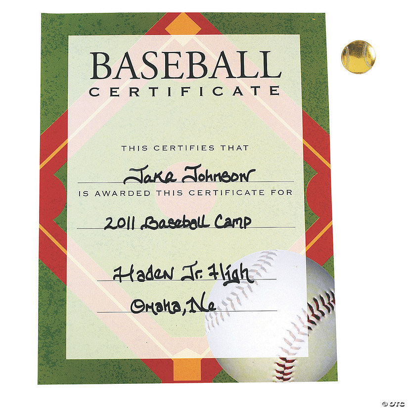 baseball award certificates with pins discontinued