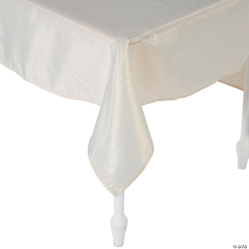 "Beige Metallic Polyester Tablecloth - 60"" x 84"""