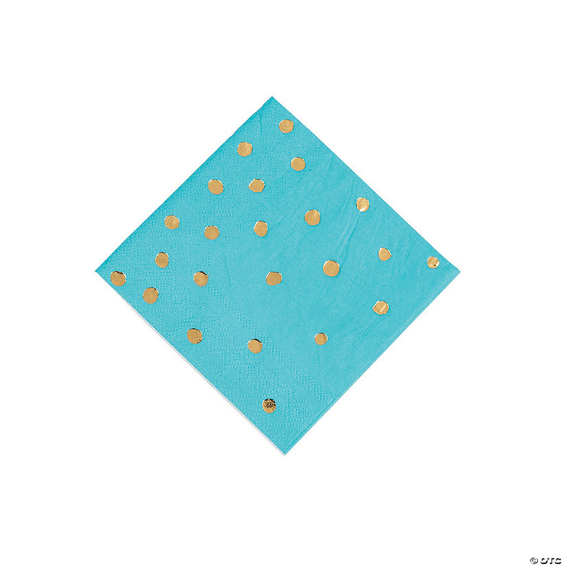 Bermuda Blue & Gold Foil Polka Dot Beverage Paper Napkins Audio Thumbnail