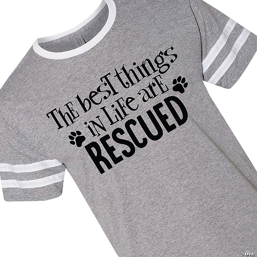 Best Things Are Rescued Adult's Ringer Varsity T-Shirt Audio Thumbnail
