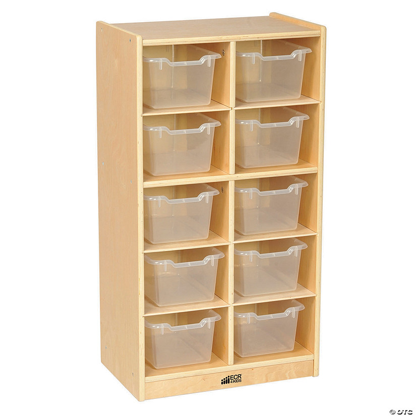 Birch 10 Cubby Tray Cabinet with Clear Bins Audio Thumbnail