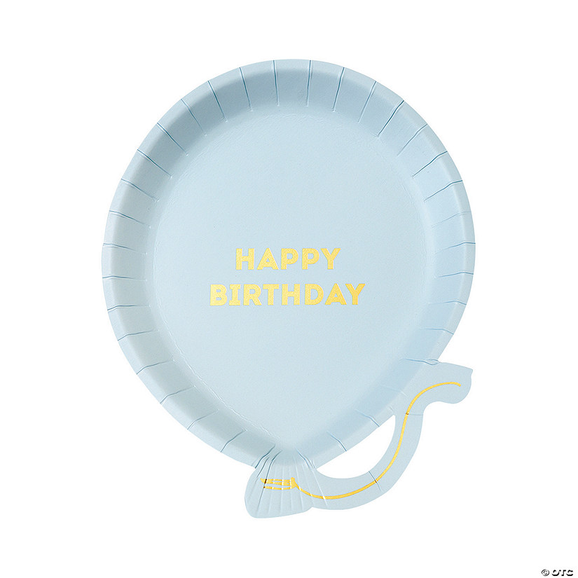 Birthday Balloon Blue Paper Plates - 12 Ct. Audio Thumbnail