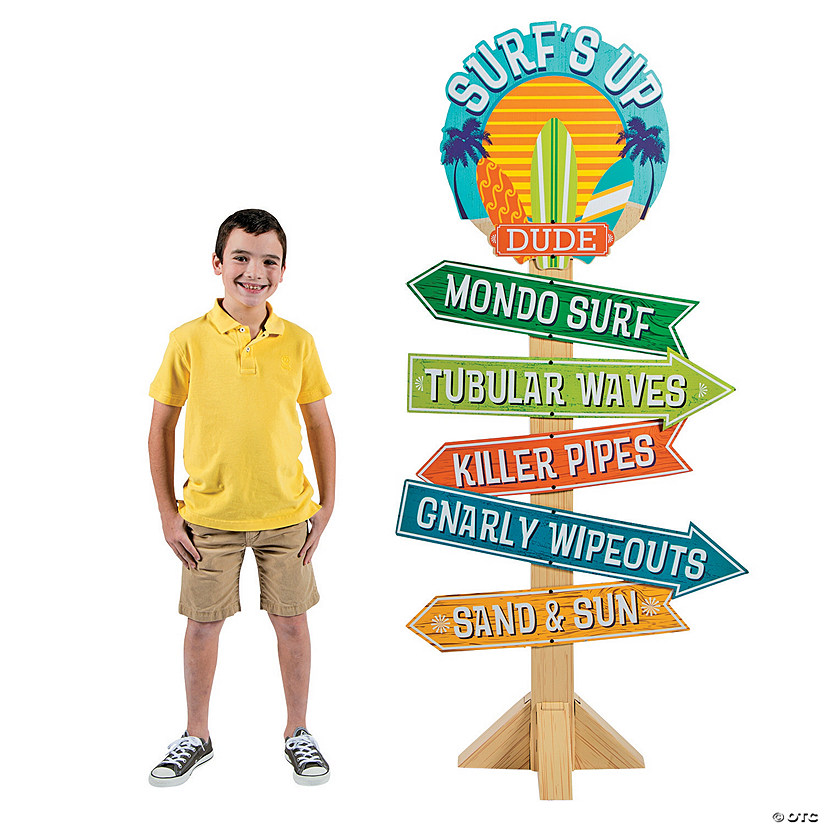 Birthday Sign Ups: Birthday Surf's Up Directional Sign Cardboard Stand-Up
