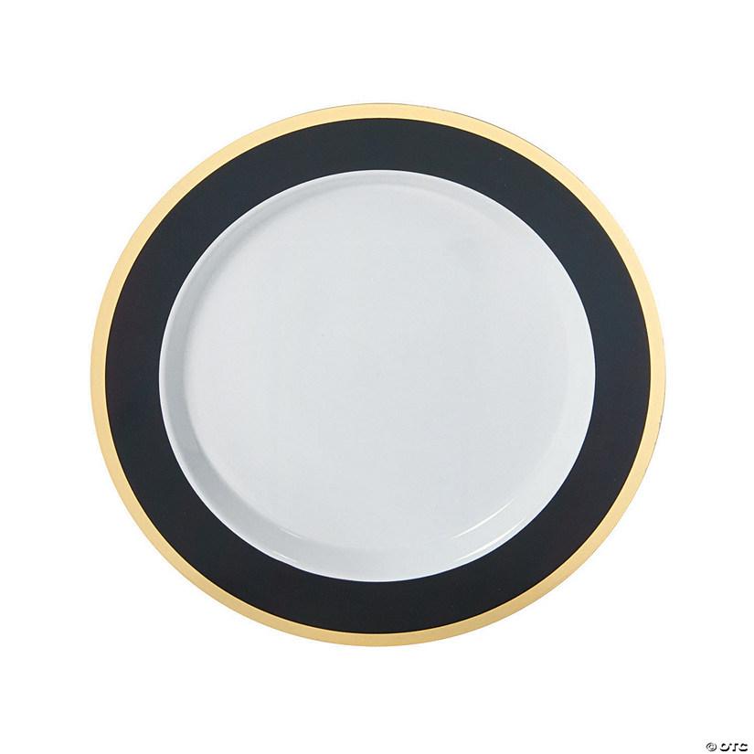 Black U0026 Gold Border Premium Plastic Dinner Plates