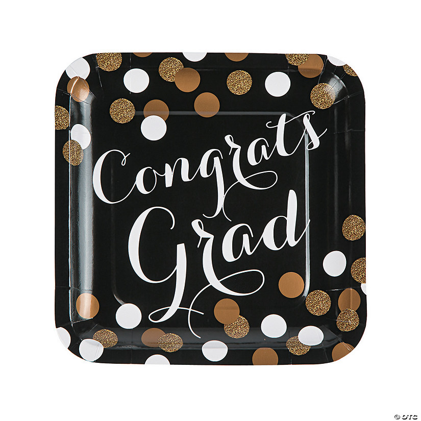 Black & Gold Congrats Grad Square Paper Dinner Plates - 8 Ct. Image Thumbnail