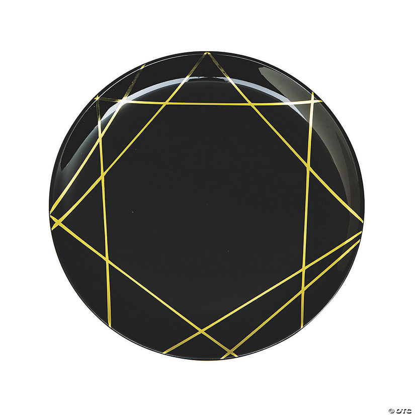 Black & Gold Geometric Plastic Dinner Plates - 10 Ct. Audio Thumbnail