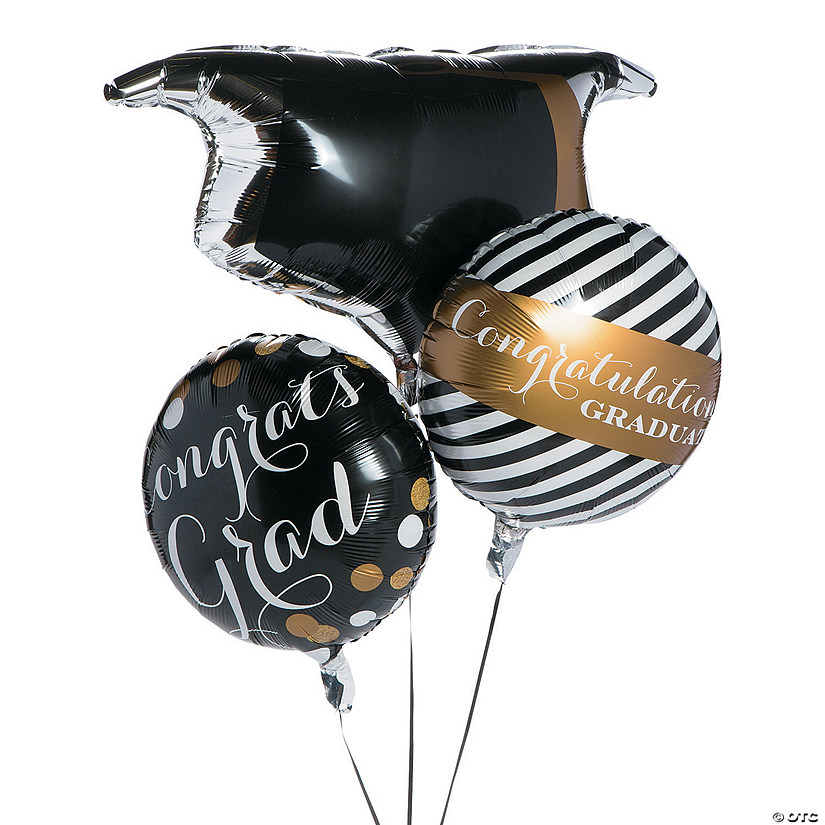 Black & Gold Graduation Mylar Balloons Audio Thumbnail