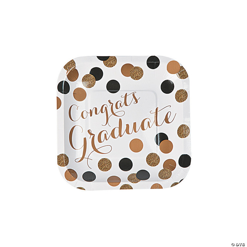 Black & Gold Graduation Paper Dessert Plates Audio Thumbnail