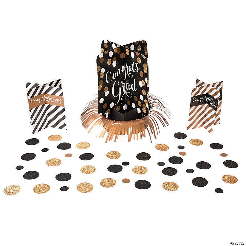 Black & Gold Graduation Table Decorating Kit Audio Thumbnail