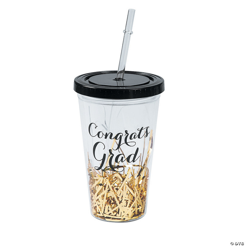 Black & Gold Graduation Tumbler with Straw & Lid Audio Thumbnail