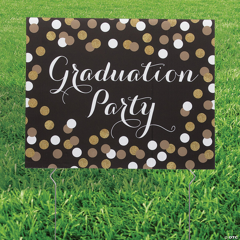 Black & Gold Graduation Yard Sign Image Thumbnail