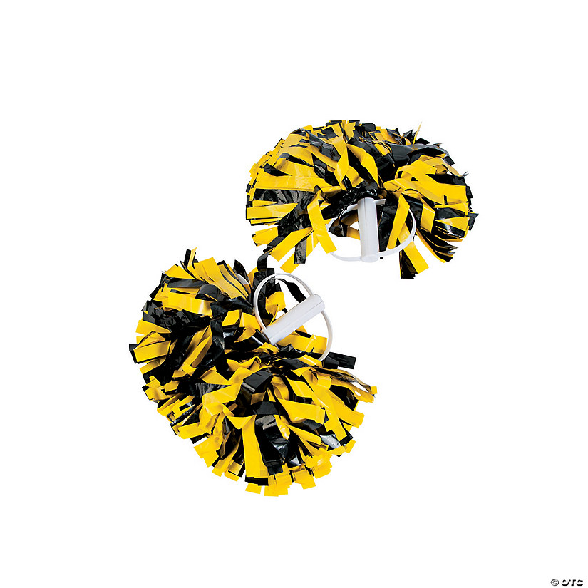 Black & Gold Spirit Cheer Pom-Poms - 2 Pc. Audio Thumbnail