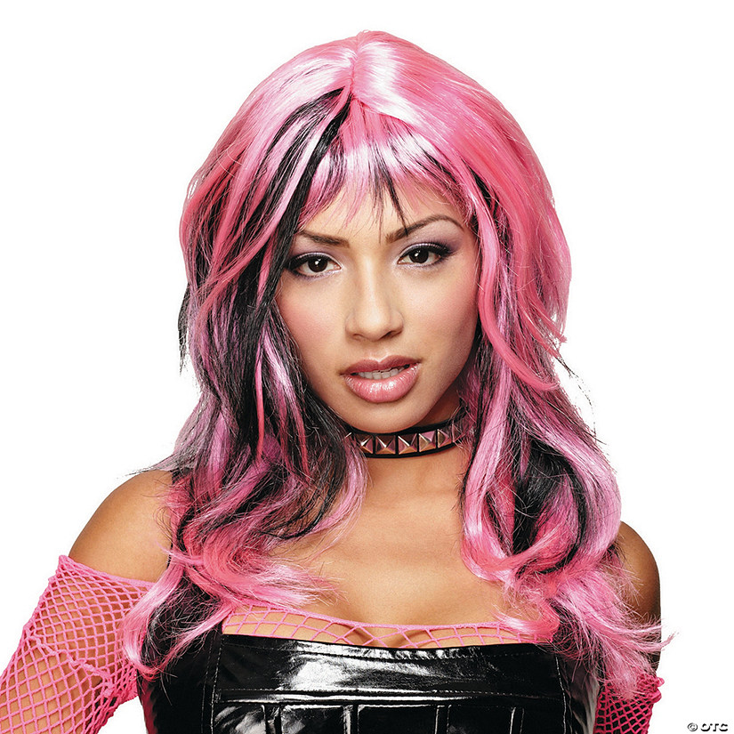 Black & Pink Hard Rockin Witch Wig Image Thumbnail