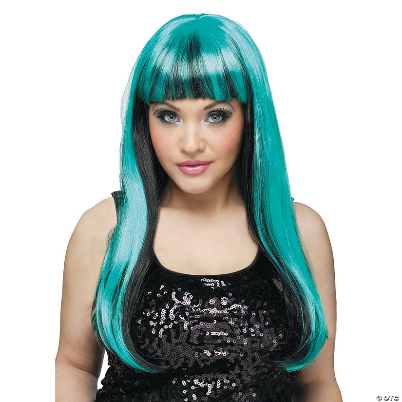 Black & Teal Natural N Neon Wig
