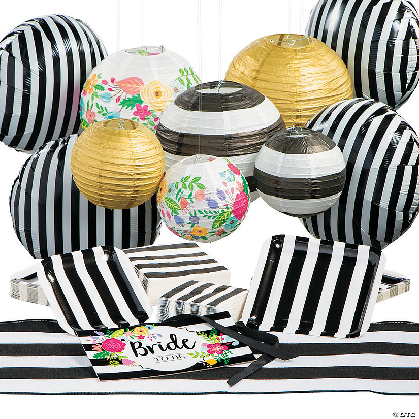 Black & White Bridal Shower Tableware Kit for 25 Guests Audio Thumbnail