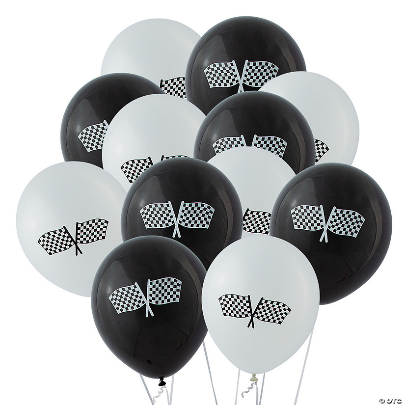 "Black & White Checkered Flag 11"" Latex Balloons"