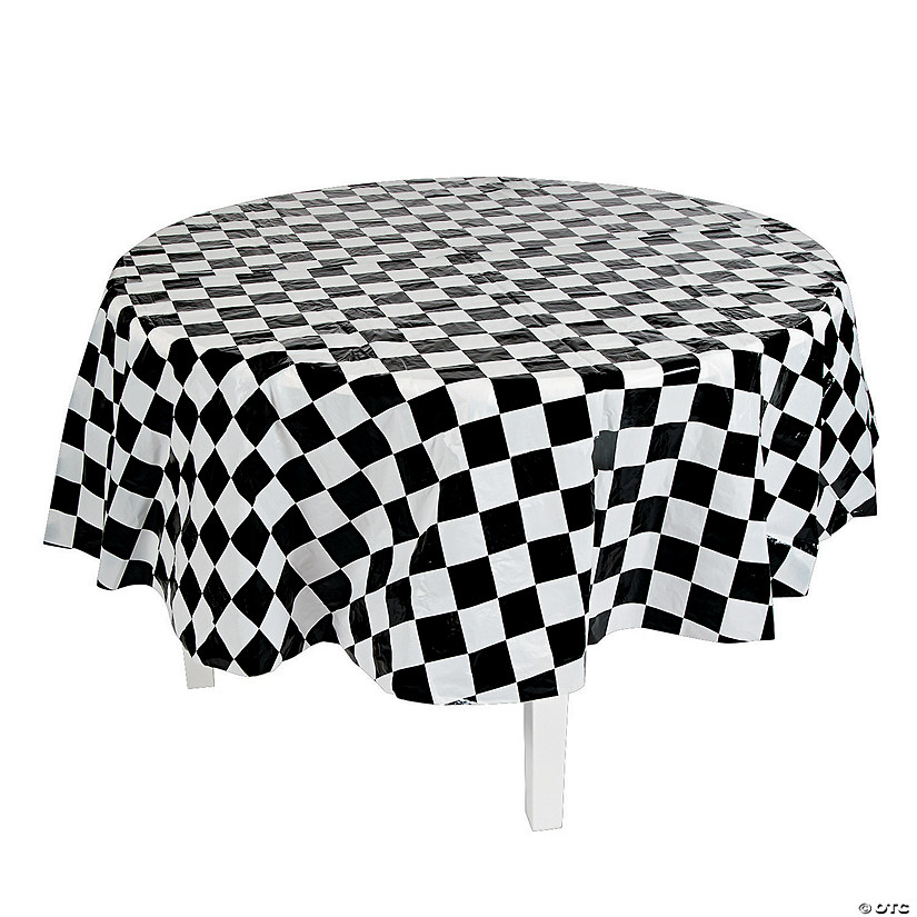 Black & White Checkered Round Plastic Tablecloth