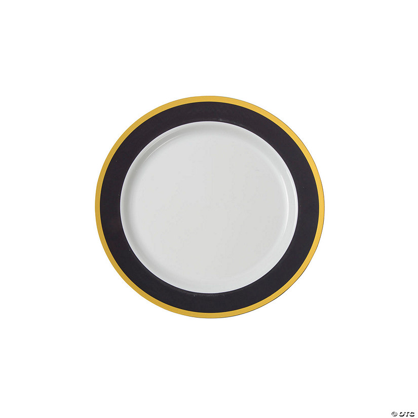 Black & White Premium Plastic Dessert Plates with Gold Border Audio Thumbnail