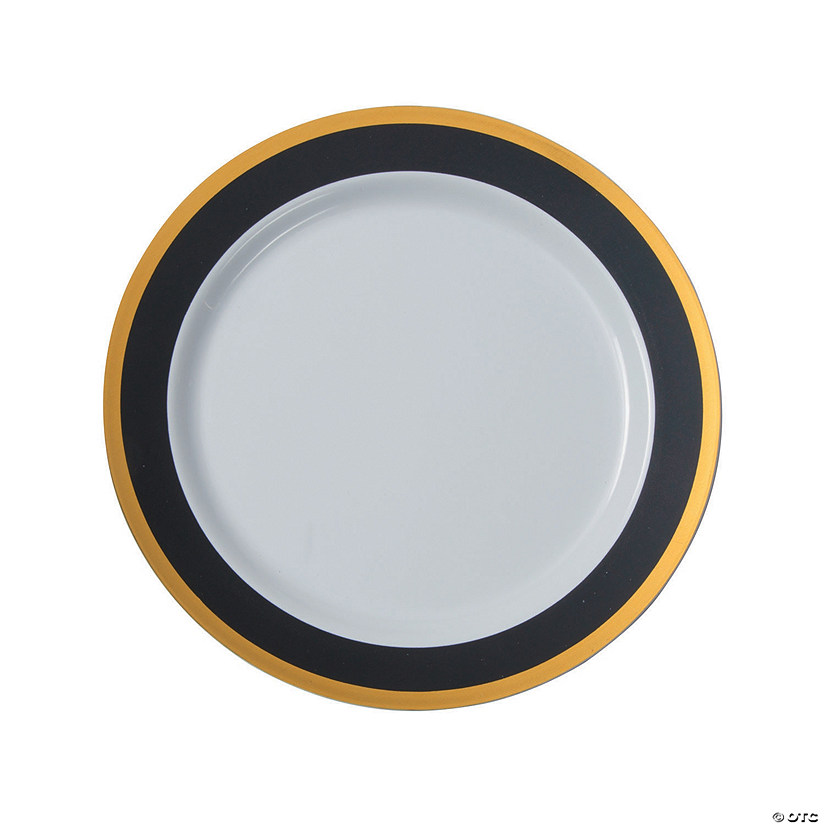 Black and White Premium Plastic Dinner Plates with Gold Border