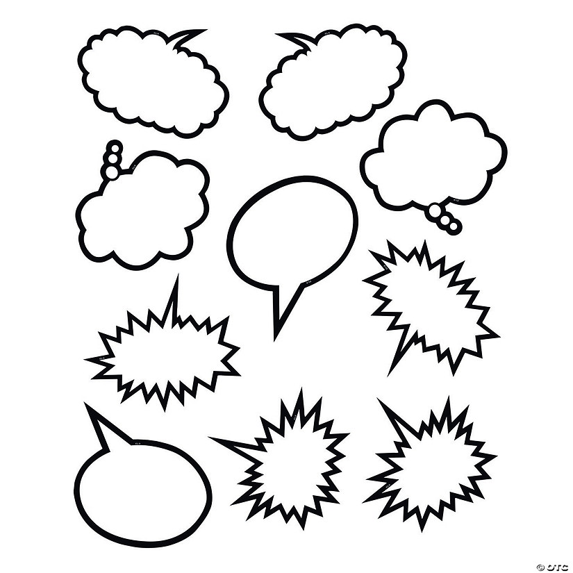 Black & White Speech Bubble Bulletin Board Cutouts Audio Thumbnail