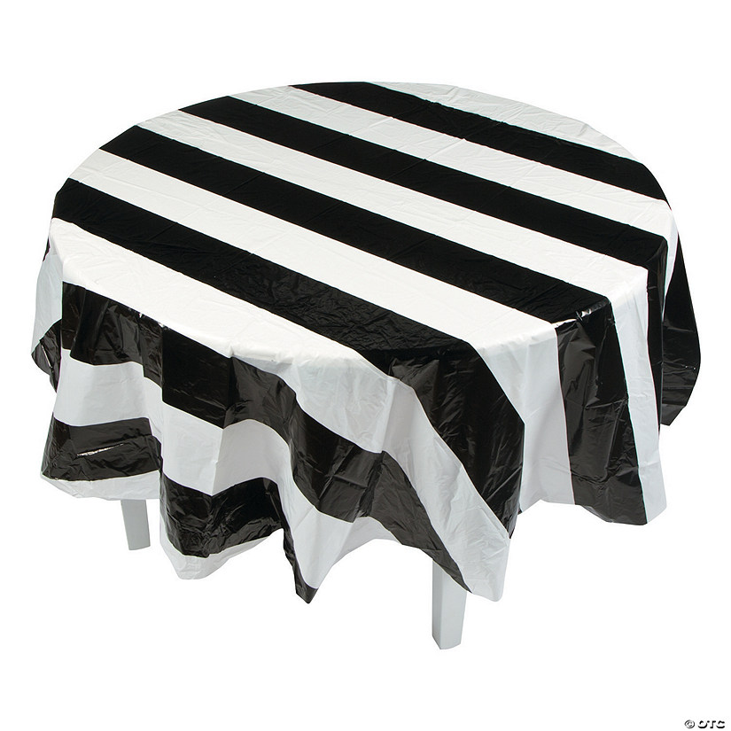 Black & White Stripe Round Plastic Tablecloth