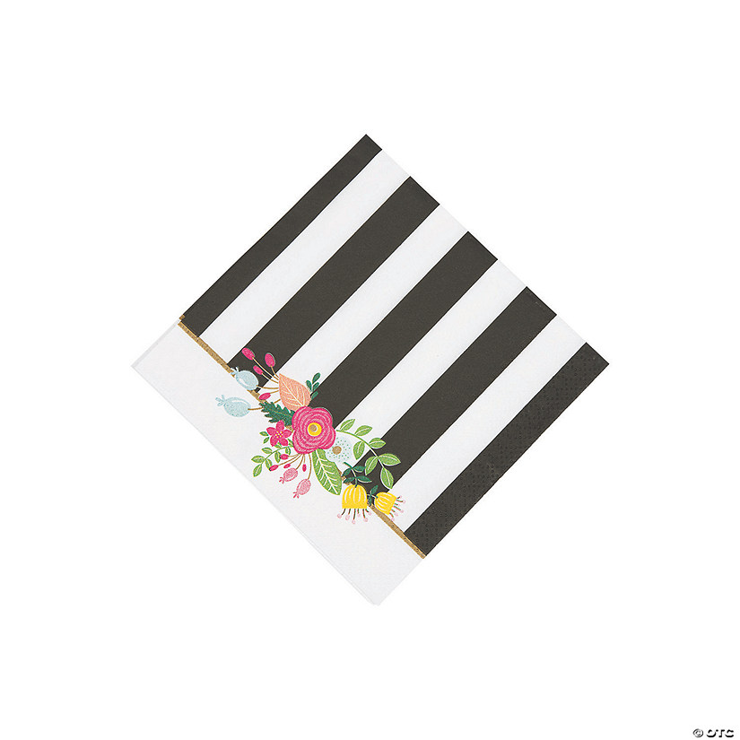 Black & White Striped Bridal Shower Beverage Napkins Audio Thumbnail