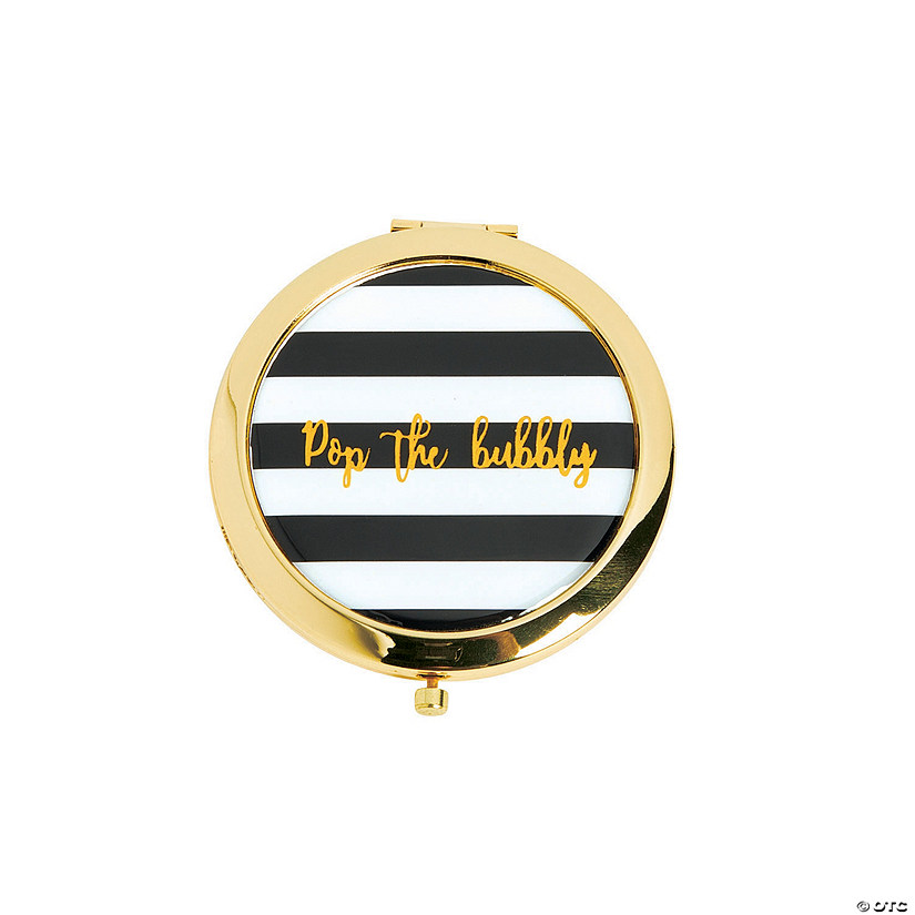 Black & White Striped Pop Bubbly Gold Compact Mirrors Audio Thumbnail