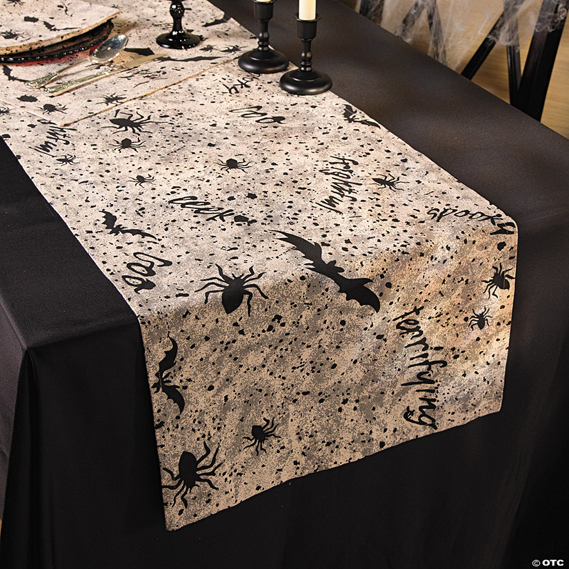 Black & White Table Runner Halloween Décor