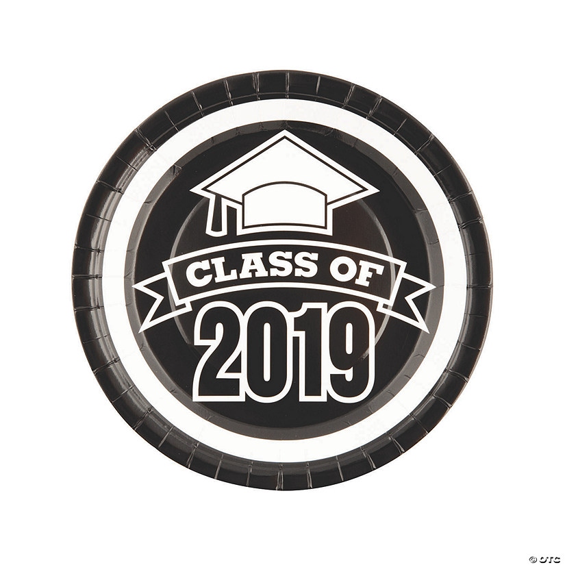 Black Class of 2019 Paper Dinner Plates