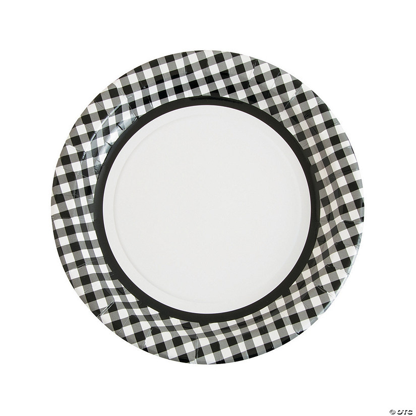 Black Gingham Paper Dinner Plates - 24 Ct. Audio Thumbnail