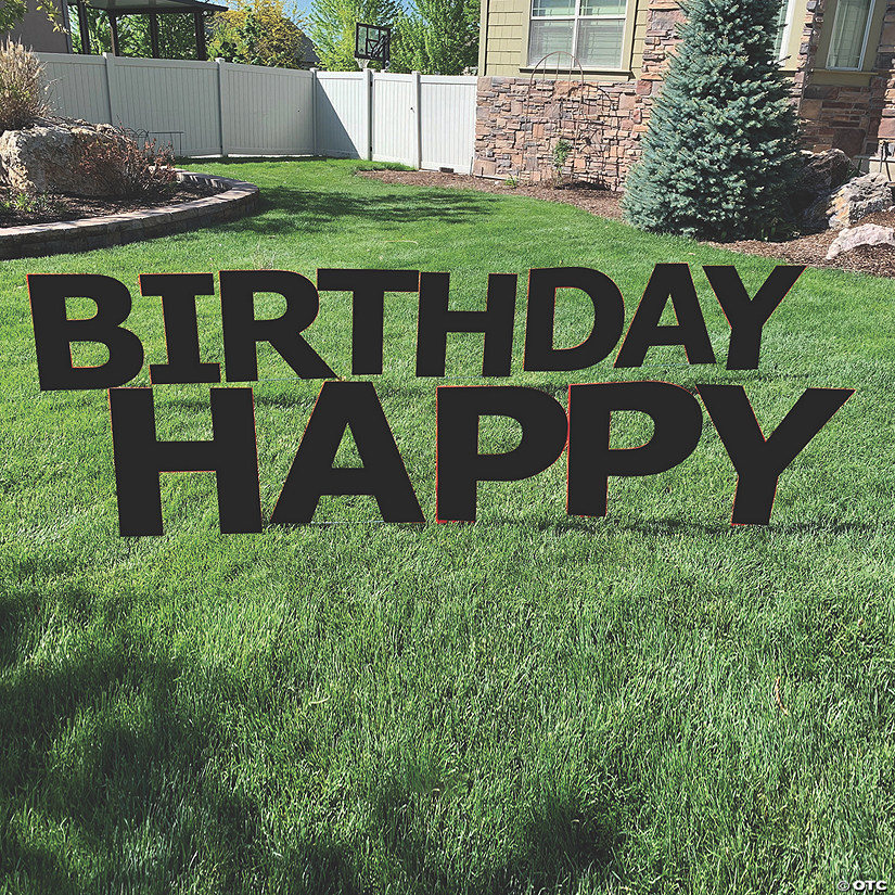 Black Happy Birthday Letters Yard Sign Audio Thumbnail