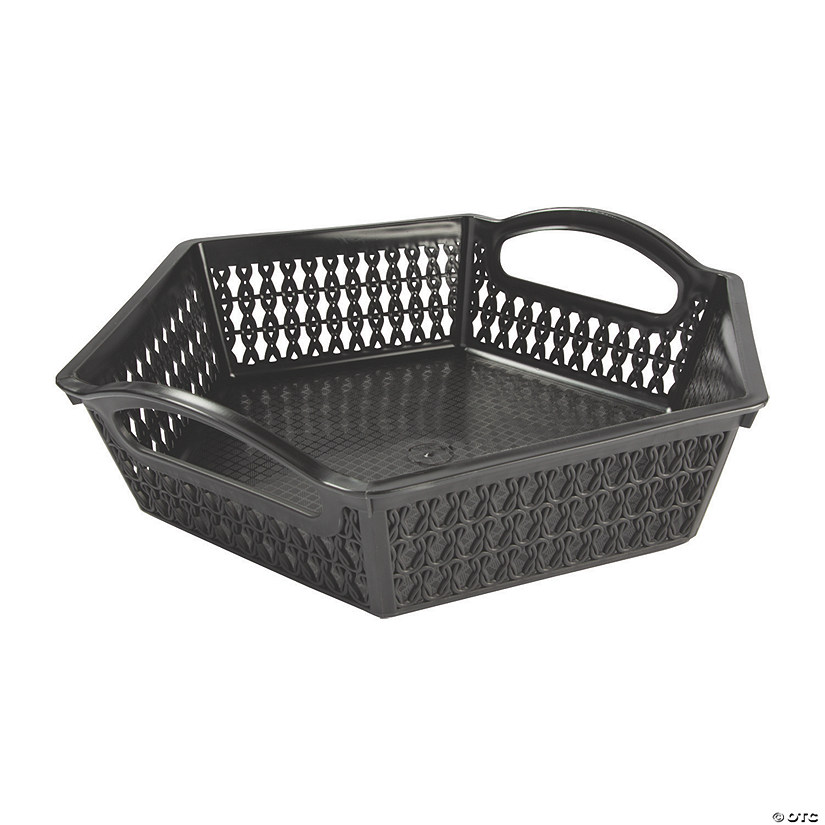 Black Hexagon Woven Storage Baskets with Handles Audio Thumbnail